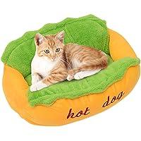 Calidaka - Cama para perro con diseño de perro caliente, suave, extraíble y lavable, cama de algodón con forma de perro…