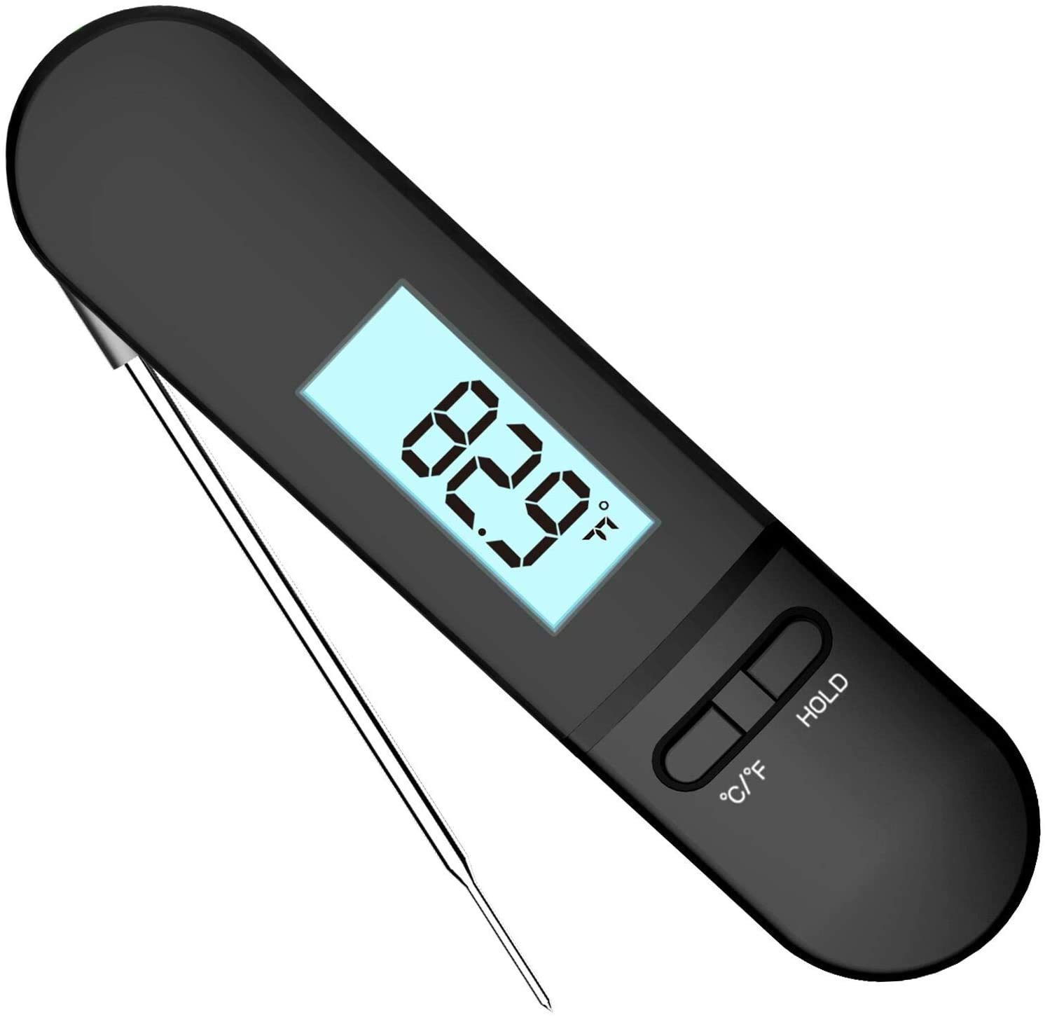 Meat Thermometer, Super Fast Instant Read Waterproof Kitchen Thermometer with Probe, Digital Food Thermometer for Kitchen, Outdoor Cooking, BBQ and Baking