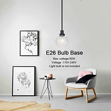 ELUZE Vintage Pendant Light Modern one Mini Pendant Lighting Seeded Glass Black Fixture Adjustable Hanging Lighting Mid Century Chandelier for Kitchen Living Room Bedroom