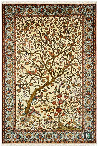 (RugsandBeyond Area Rug Handmade Persian Tree of Life Design Floral Pattern Ground Color Ivory pure silk material 100% Washable (2.8ft X 4ft))