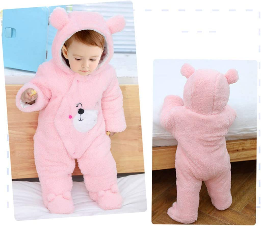 JiAmy Baby Hooded Romper Winter Jumpsuit Flannel Outfits Boys Girls Pajamas Toddler Onesie Footies Outwear Brown 6-9 Months