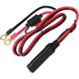 KUNCAN 2FT SAE Connector to The O Ring Connectors Harness 2 Pin Lug Cable with Ring Terminal Battery Charger Quick Disconnect SAE Extension Cord For Motorcycle, Car, Tractor 10A Fuse