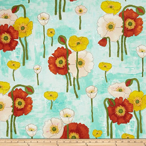 Michael Miller Vignette Gathered Poppies Aqua Fabric By The Yard (Aqua Floral Fabric)