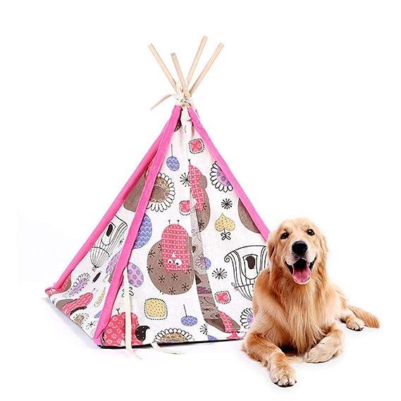 Aolvo Pup tienda de campaña para perros, mascotas Teepee Tienda de campaña para perro/gato/cama lavable plegable portátil colorido lindo estilo de algodón ...