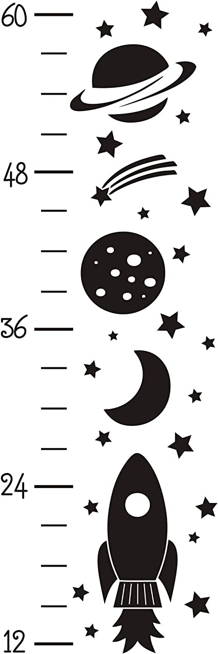 JURUOXIN Growth Chart Wall Decal Rocket Art Vinyl Removable Height Chart Stickers DIY Kids Boy Nursery Room Decoration YMX34 Black
