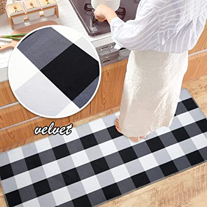 Ustide Velvet Black And White Buffalo Check Rug Antiskid Kitchen Rug Mat 23 6 X51