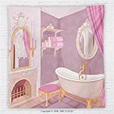 59 x 59 Inches Teen Girls Decor Fleece Throw Blanket Fancy Bathroom in The Palace of the Princess with Bathtub Cabinet Mirror Blanket Pink Beige