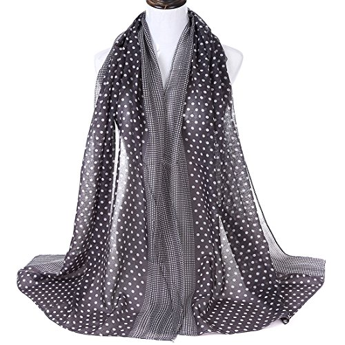Voile Dot (LKKLILY-Woman autumn and winter wave point scarf dot Voile classic shawl scarf)