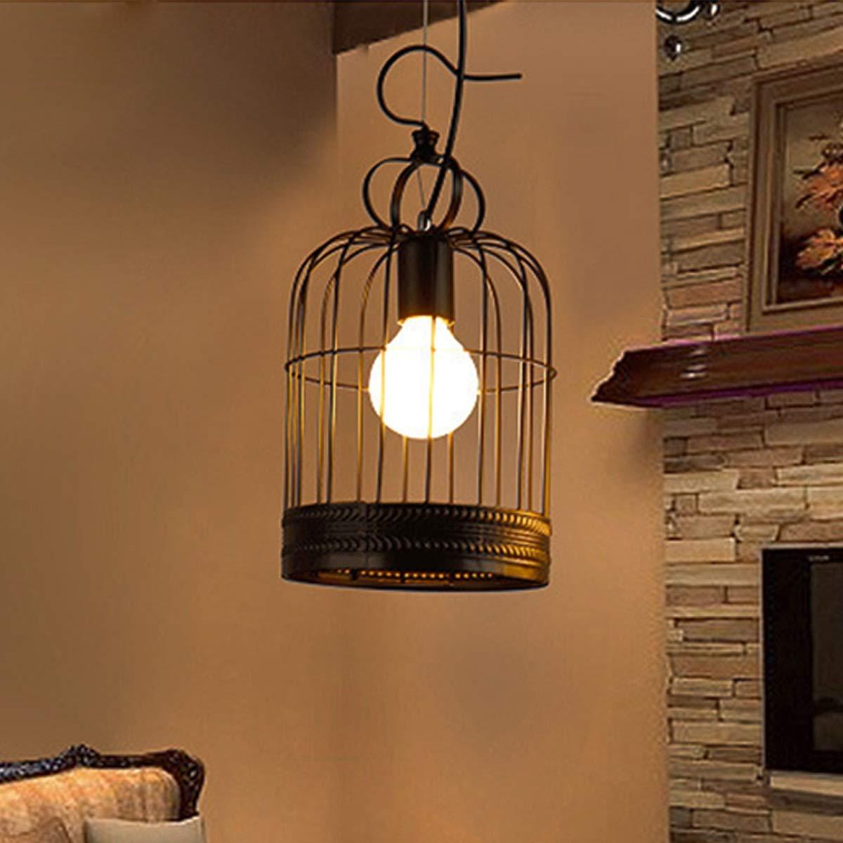 Weichunya Stilvolle E27 / E26 Eisen Kronleuchter Kreative Lichter Anhänger Retro Kronleuchter Vintage Deckenleuchte Lampe Vogelkäfig Geformte Schlafzimmer (Farbe : Weiß, Größe : AC 220V)