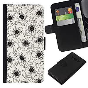 KingStore / Leather Etui en cuir / Samsung Galaxy A3 / Blanco Negro Flor Dibujo Arte;