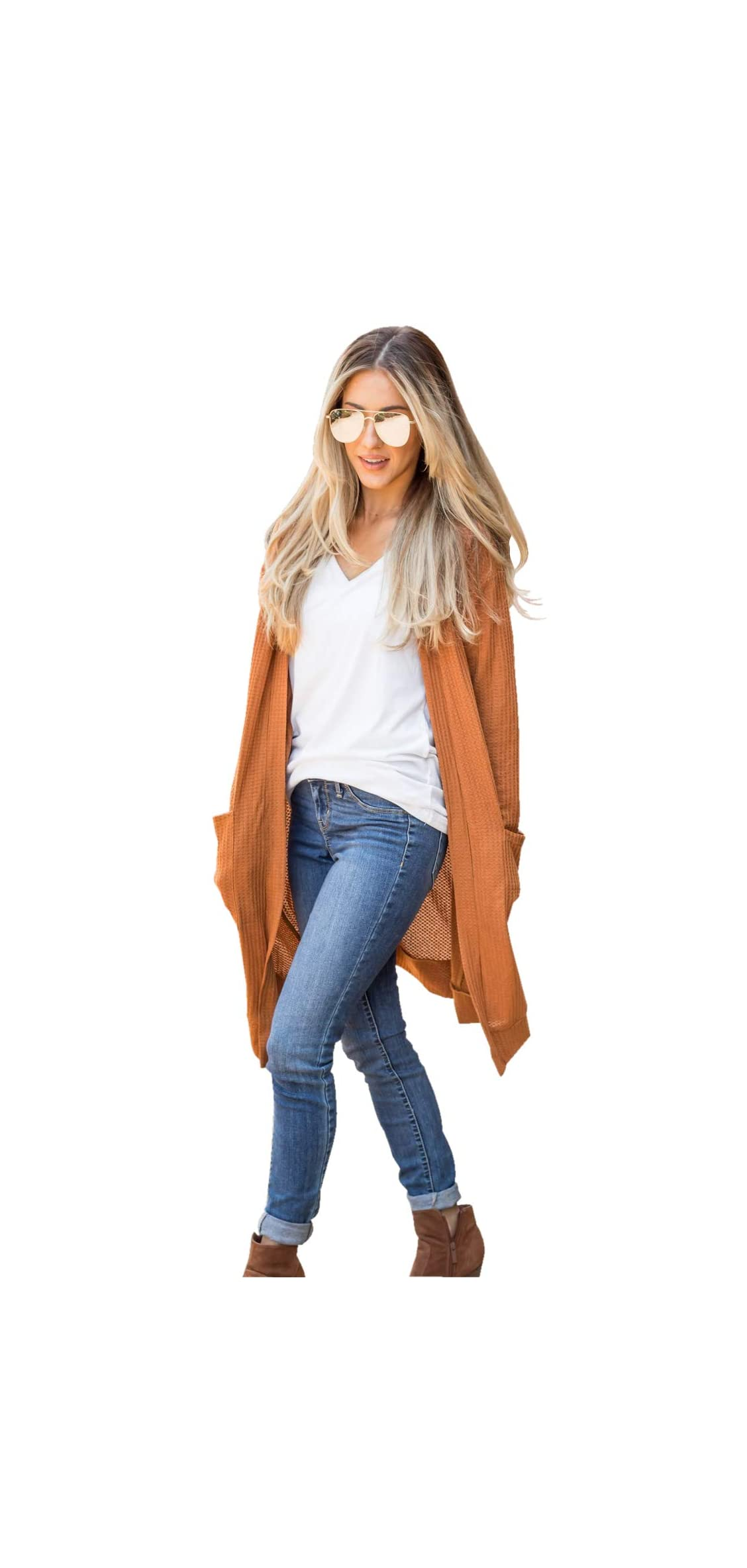 Women's Long Sleeve Knit Open Front Sweater With