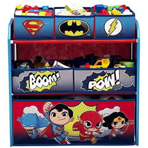 Delta Children Multi-Bin Toy Organizer, DC Super Friends | Batman | Robin | Superman | Wonder Woman | The Flash