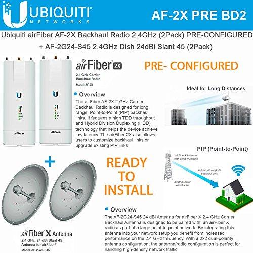 Ubiquiti AF-2X PRE-CONFIGURED Radio 2.4GHz +2G24-S45 Slant Dish 45 24dBi (2PACK)