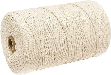 Natural Hecho a Mano Algodón Cuerda, Macramé Hilo Cuerda, Cortina Algodón Trenzado Cuerda Cuerda Manualidades Macramé Artisan para Tendedero, 3mm X 200m: Amazon.es: Hogar