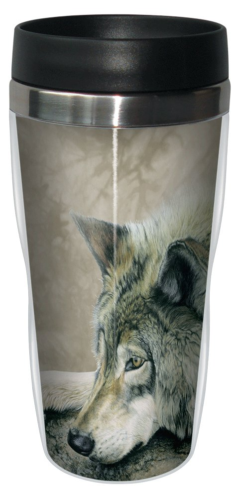 On The Edge Wolf Travel Mug, Stainless Lined Coffee Tumbler, 16-Ounce - Wolves Themed - Gift for Animal Lovers - Tree-Free Greetings 77001