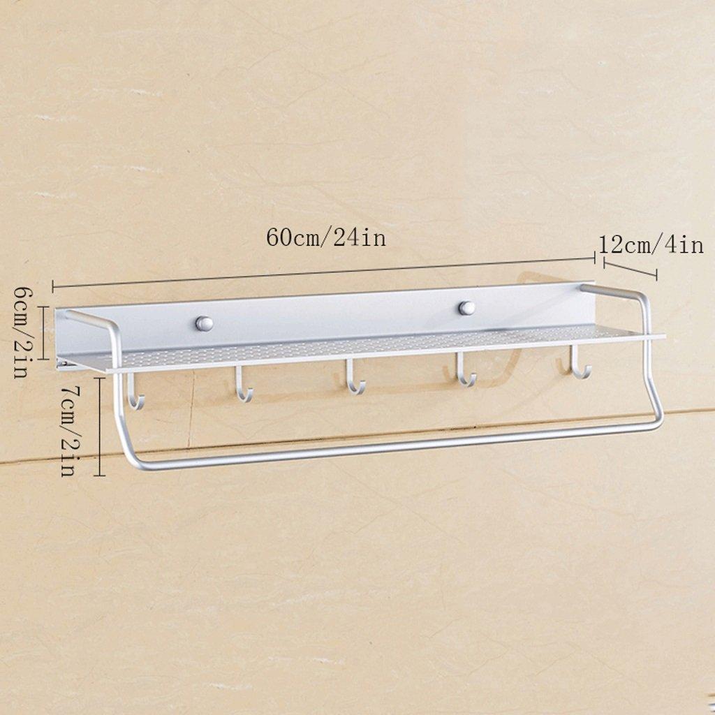 YXN Space Aluminum Bathroom Shelf Single Bathroom Pendant With Hook Metal Pendant Thickened Bathroom Corner Accessories Multi-functional Combination (Size : 60cm)