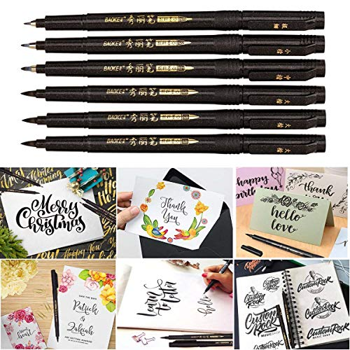 Hand Lettering Pens, Calligraphy Pen Brush Markers Set, Refillable - 4  Size(6 Pack), for Beginners Writing, Bullet Journaling, Signature,  Multiliner,