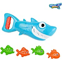INvench Shark Grabber Baby Bath Toys - Blue Shark with Teeth Biting Action Include 4 Toy Fish Bath Toys for Boys Girls Toddlers (Blue)