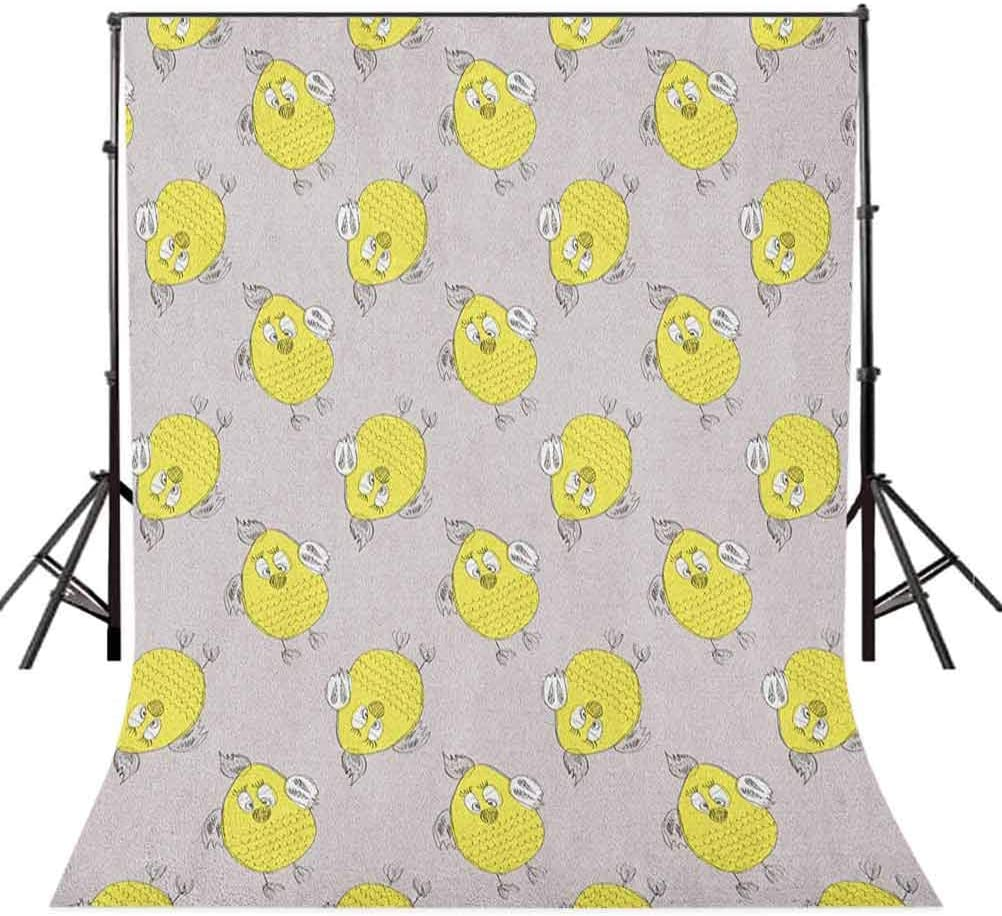 7x10 FT Grey and Yellow Vinyl Photography Backdrop,Sketchy Hand Drawn Design of Cartoon Owls Modern Hipster Style Image Background for Baby Shower Bridal Wedding Studio Photography Pictures