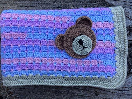 Baby Blanket. Unisex Baby Blanket. Crocheted Blanket. Baby Afghan with Teddy Bear Applique Embellishment.