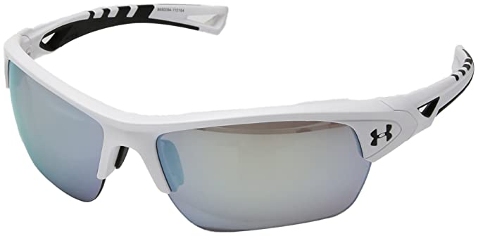 5d8f15a98db2 Image Unavailable. Image not available for. Color: Under Armour Eyeking  Men's Wrap UA Octane Satin White/Black Frame/Baseball Tuned Lens