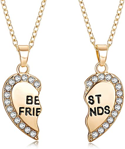 925 sterling silver best friend necklace heart Pendant with chain
