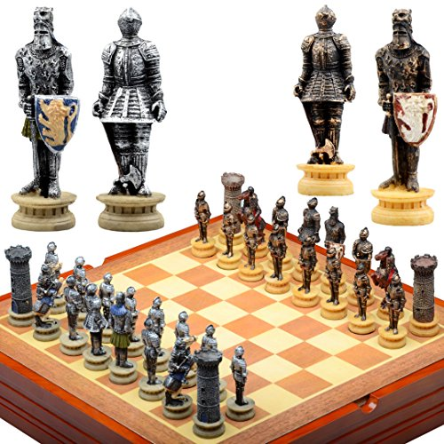 Medieval Knight Chess Set Wooden Playing Board and Storage Area