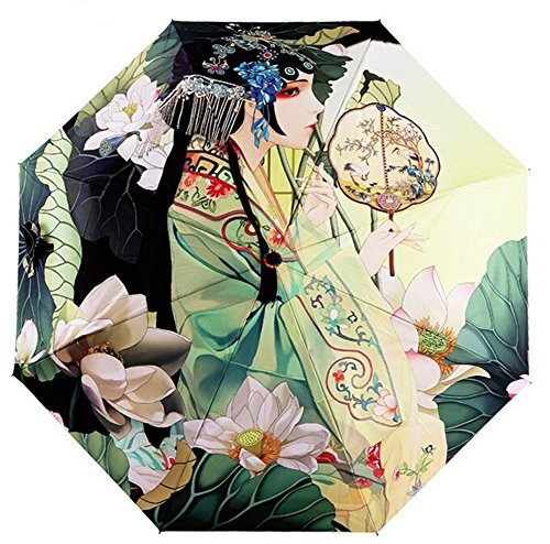 Estwell Folding Compact Outdoor Travel Umbrella Windproof UV Protection Sun Rain Umbrella with Art Print (Print Umbrella)