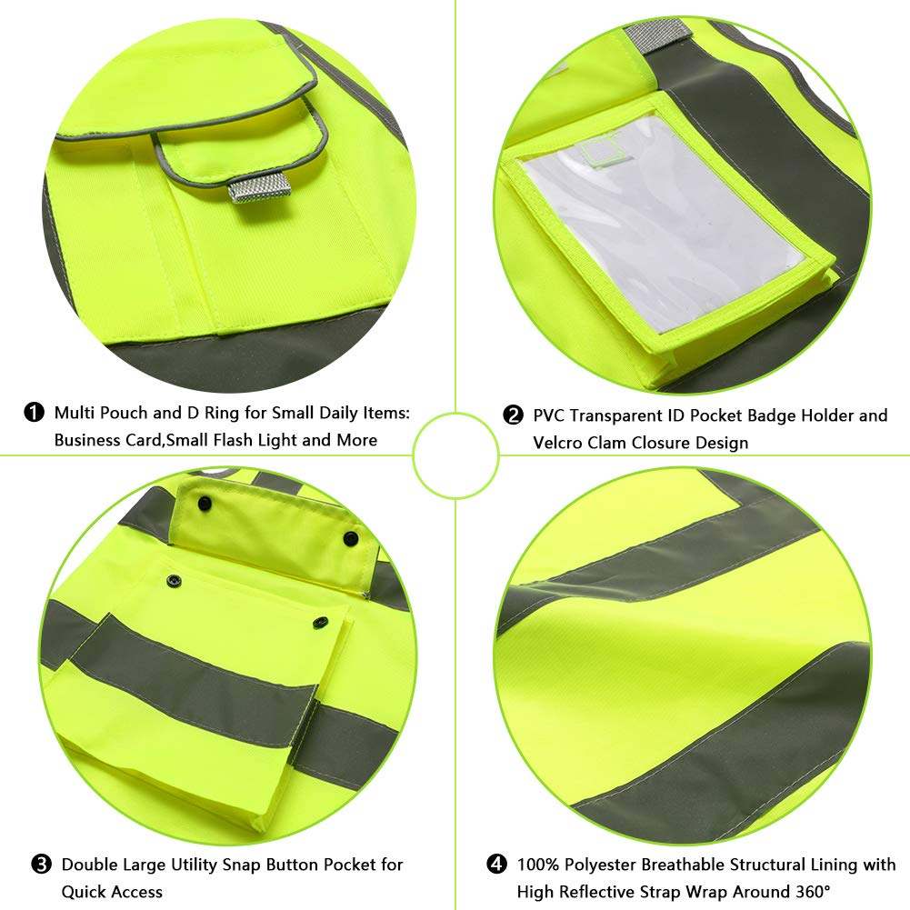 Tekware High Reflective and Breathable Safety Vest, Pack of 5 Bright Neon Color Construction Protector with Reflective Strips and Zipper with 6 Pockets by Tekware (Image #4)