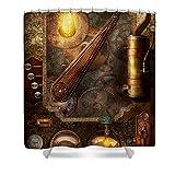 Pixels Shower Curtain (74'' x 71'') ''Steampunk - Victorian Fuse Box''