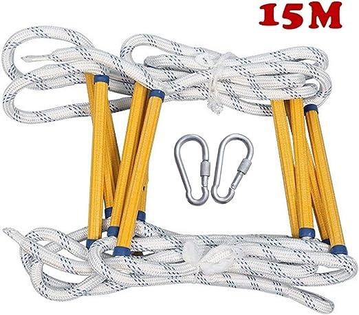 WMWJDQ Escalera De Cuerda,Escaleras De Emergencia,Escalera De Cuerda Rescate Escalada,para Niños y Adultos Escalera De Entrenamiento Escalera De Cuerda,para Escalada,Árbol,Casa,15M: Amazon.es: Hogar