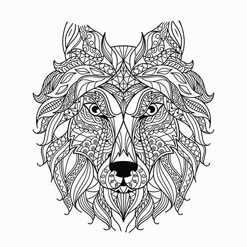 Wolf Head Zentangle Stylized Coloring Page Mandala Throw