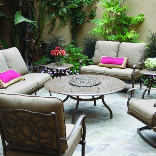 - Darlee Florence 8 Piece Cast Aluminum Patio Conversation Seating Set - Chat Table with Ice Bucket Insert - Antique Bronze