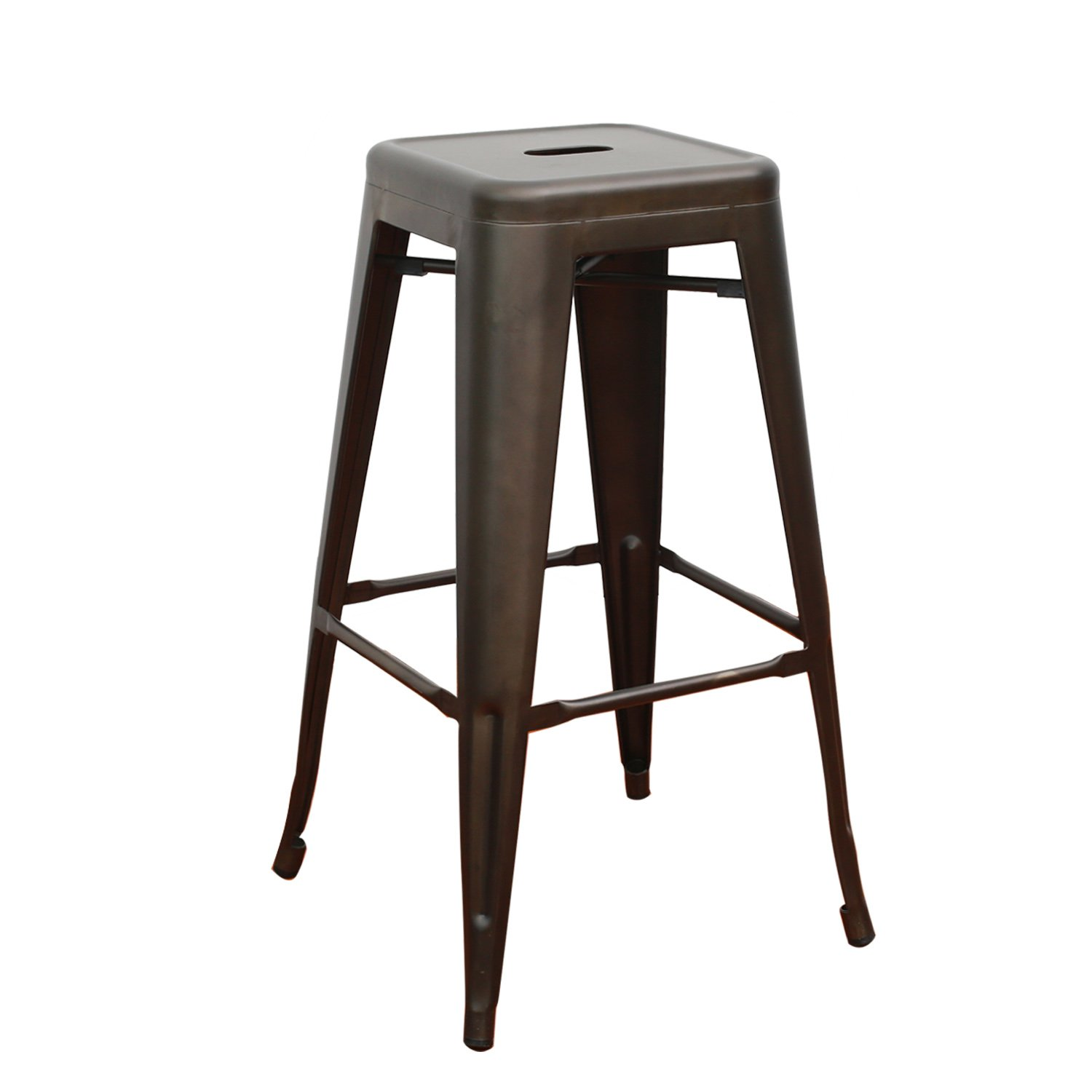 EDECO 30-inch Tolix Style Bar Stools Backless Metal Chair Set of 4 Bronze Color for Living Room Indoor Outdoor Counter Stools