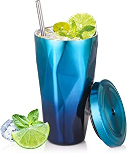 Classic Tumbler 16 oz Vacuum Insulated Stainless Steel Hot Cold, Modern Double Walled, Simple Thermo Travel Mug, Hydro Water Metal Canteen (Rainbow Blue+Dark Blue)