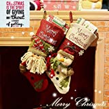 Double Pieces of Lovely Embroidered Snowman + Santa Clause Pattern Christmas Stockings. 19 Inches Length and 9.5'' Wide Mouth Socks