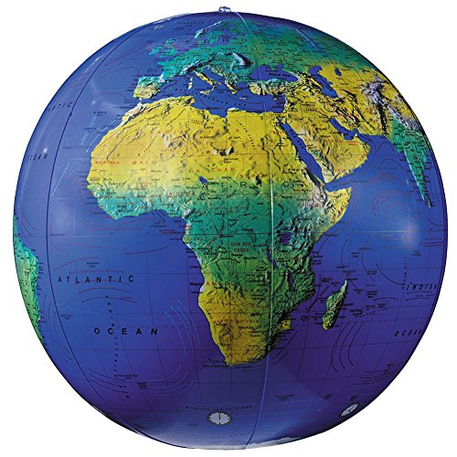 Replogle Globes Inflatable Topographical Globe, Dark Blue Ocean, 16-Inch Diameter