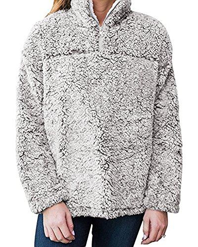 Frosty Pebbles (Huiyuzhi Unisex Pebble Pile Stand Zipper Collar Fleece Sweatshirts Sherpa Pullover)