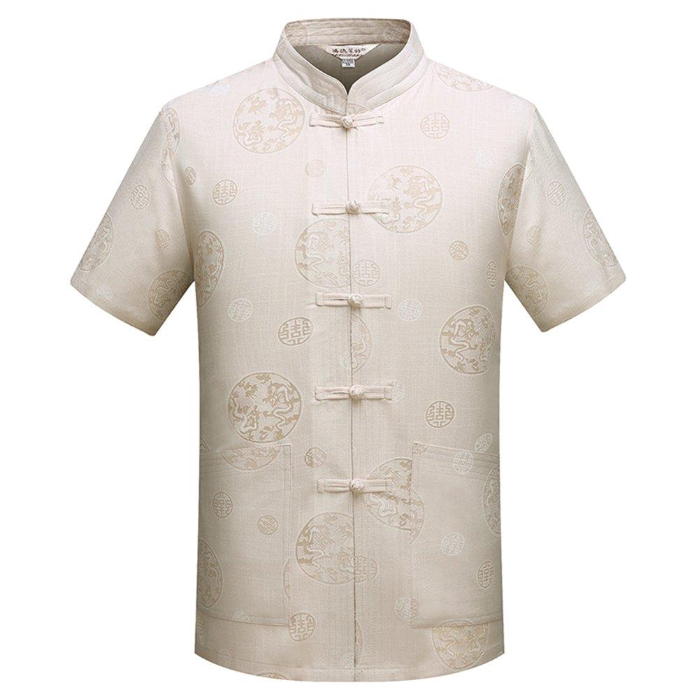 BOZEVON Hommes Court - Manches Chinois Style Tang Costume Kung Fu Uniforme, Vêtements d'arts Martiaux