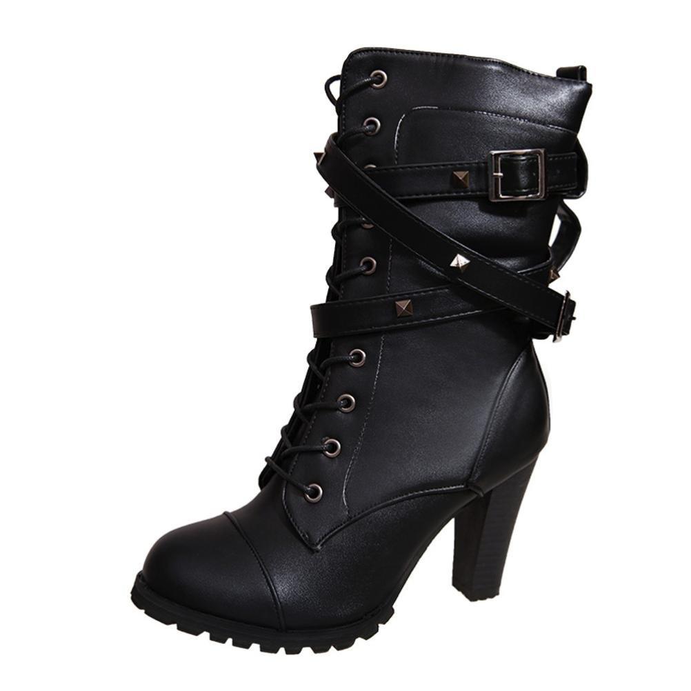 Xinantime - Botines Las Mujeres abrochan Las Botas Calientes de la Correa de Las señoras Tacones Martin Zapatos (38 EU, Negro): Amazon.es: Hogar
