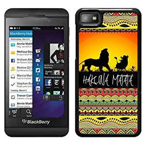Unique Designed Skin Case For Blackberry Z10 With Hakuna Matata on Sunset Lion King Black Phone Case