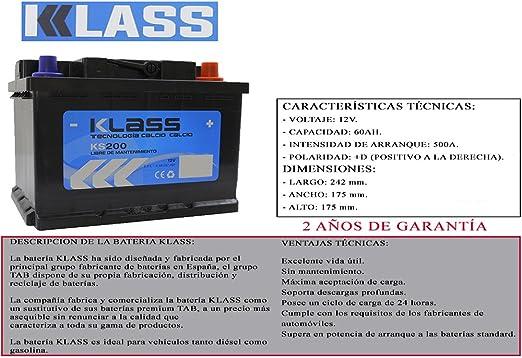 BATERIA DE COCHE 52AH +D DERECHA 500A(EN) REALES ENTREGA GRATIS EN 24/48H 2 AÑOS DE GARANTIA 12V FABRICADA EN ESPAÑA POR TAB MEDIDAS 242x175x175 BATERIA 60AH 61AH 62AH MAXIMA CALIDAD DIESEL GASOLINA: