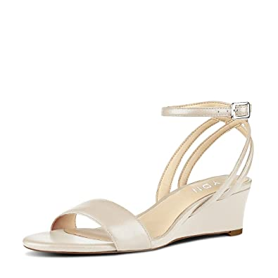 5e4eaeed3f66 YDN Women Open Toe Low Heel Wedge Sandals Ankle Straps Slingback Summer  Shoes Beige 10