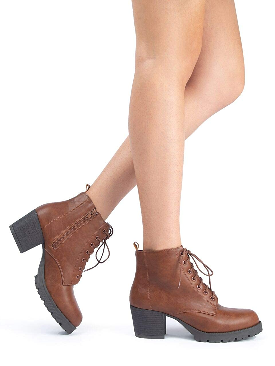 72609dc2038 Amazon.com | J. Adams Jones Combat Bootie - Casual Lace Up Closed Round Toe Chunky  Heel Boots | Ankle & Bootie