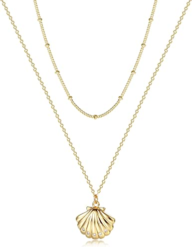Women Cowrie Jewelry Gold Plated Shell Charm Necklace LA