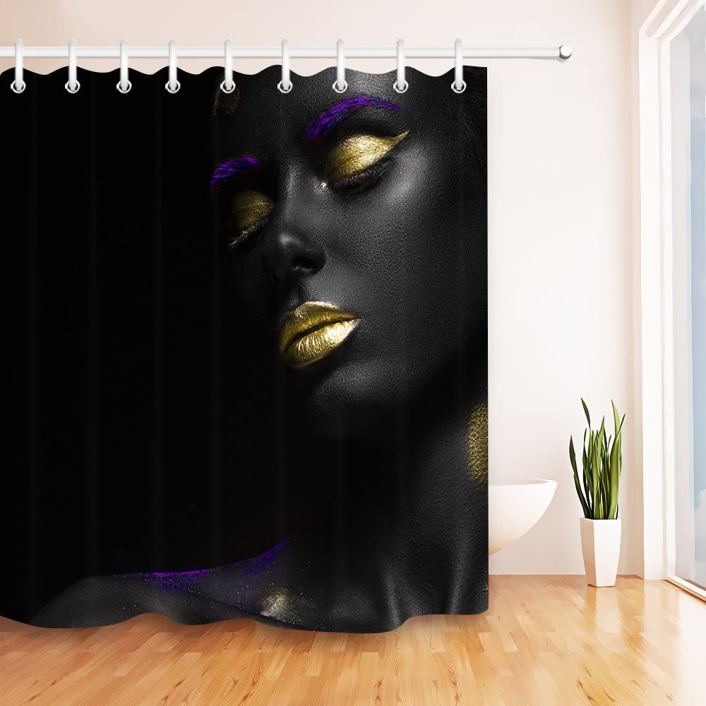 Amazon Com Lb African American Shower Curtain For Bathroom Black Woman With Gold Lips Funny Sexy Black Art Shower Curtain African Bathroom Sets 72x72 Inch Waterproof Polyester Fabric Kitchen Dining