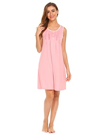 Hotouch Women\'s Nightgowns Cotton Sleep Shirts Sleeveless Lounge ...