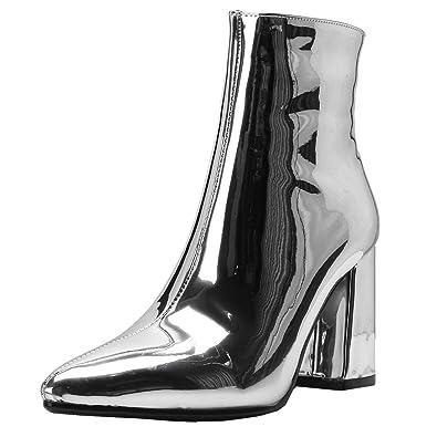 87f1eda64eae67 YE Chaussure Bottes Mariage Courtes Bottines Vernis Bout Pointu Femme Zip  Talon Haut Bloc Chunky Heels