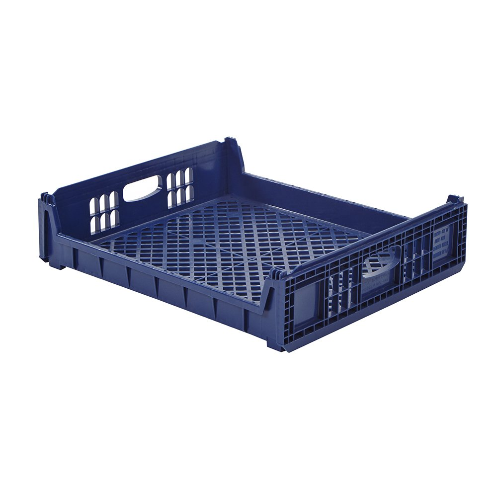 Plastic Bakery Trays - 26'' x 22'' Blue Bread Basket with Standard Sides (1 Tray)
