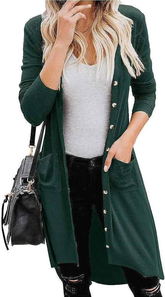 Scrolor Damen Long Cardigan Casual Button Langarm Strickjacke mit Taschen Einfarbig Elegante Unregelm/ä/ßig Langarmshirt Mit Offenem Ausschnitt Cardigan Casual Mode Outwear Strickmantel